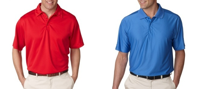 two men embroidered polo shirts